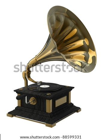 Old record player over white background. 3d illustration. high resolution