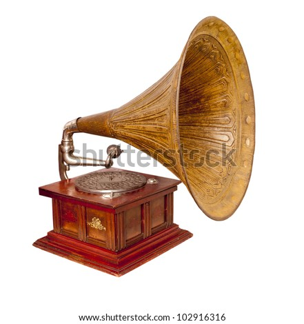 Old record player over white background. Retro image - stock photo