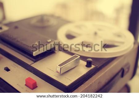 old  recording machine - stock photo