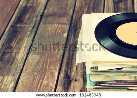 old records stack. vintage filtered