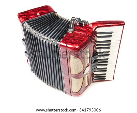 Old red accordion isolated o na  white background - stock photo