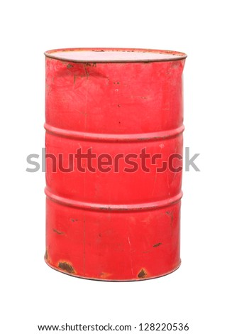 Old red barrel on white background. - stock photo