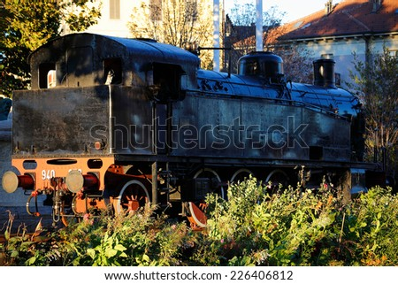 old red&black steam locomotive - stock photo