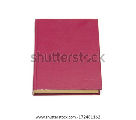 Old red book isolated on white background