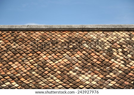Old red brick roof tiles from south of thailand - stock photo
