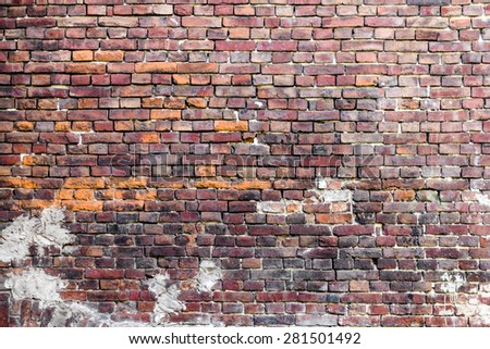 old red brick stone wall fragment texture  - stock photo