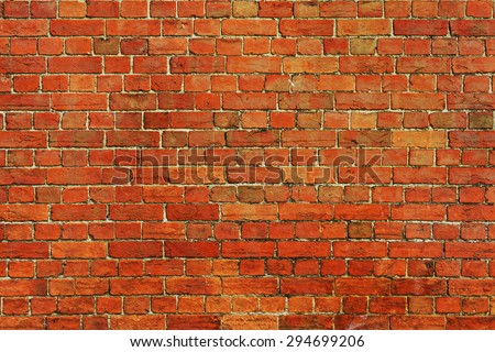 Old Red Brick Wall Background - stock photo