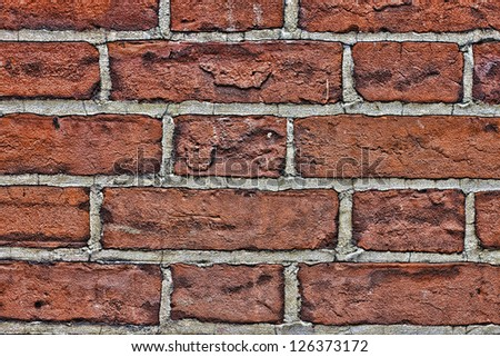 old red brick wall close up - stock photo