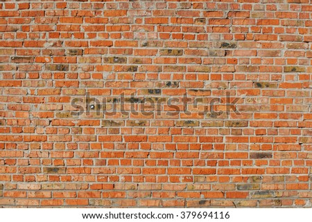 old red brick wall close up. background