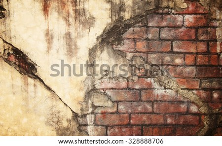 Old Red Brick Wall with Damaged Grey Plaster Abstract for Background Texture