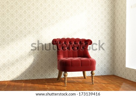 old red Chair in the living room on wooden package