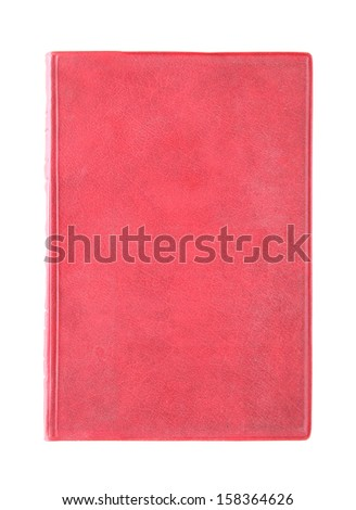 Old red cover book isolated over white background