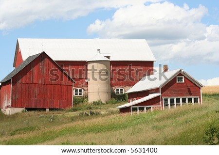 old red dairy barn in Wisconsin - stock photo