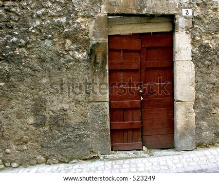 Old Red Door - stock photo
