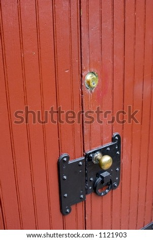 Old red door and lock