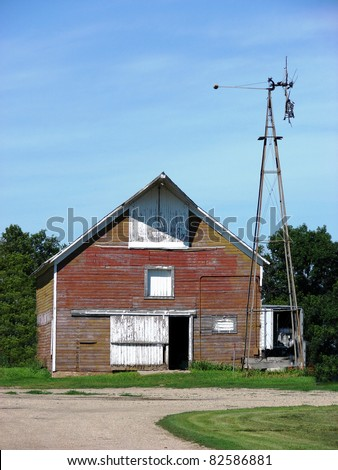 old red farm building - stock photo