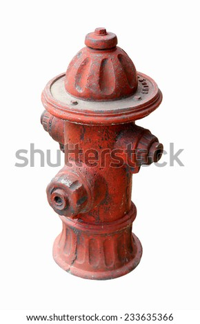 Old red fire hydrant isolated white background - stock photo