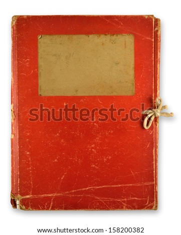 old red folder isolated on white background - stock photo