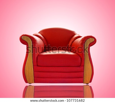 old red leather sofa - stock photo