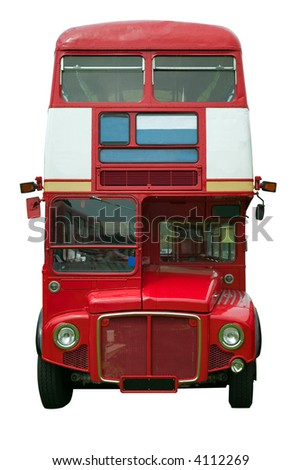 Old red London double decker bus, isolated on white. - stock photo