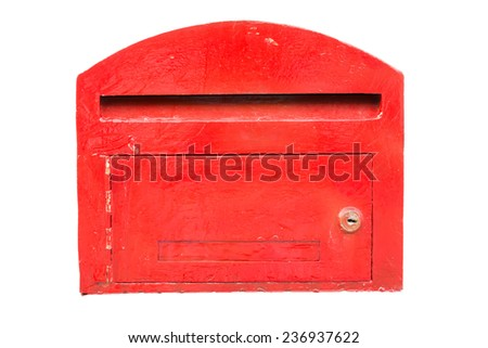 Old Red mailbox isolated on white background - stock photo