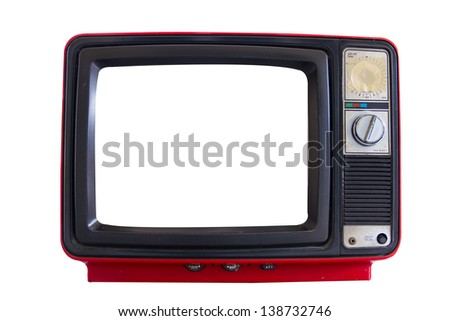 Old  red television on white background - stock photo