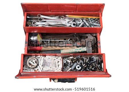 Old red toolbox with tools on white background, clipping path included