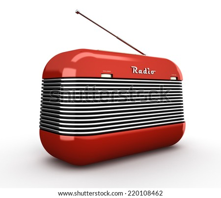 Old red vintage retro style radio receiver isolated on white background - stock photo