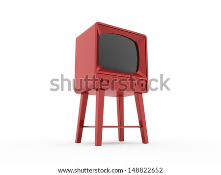 Old red vintage TV isolated on white background - stock photo