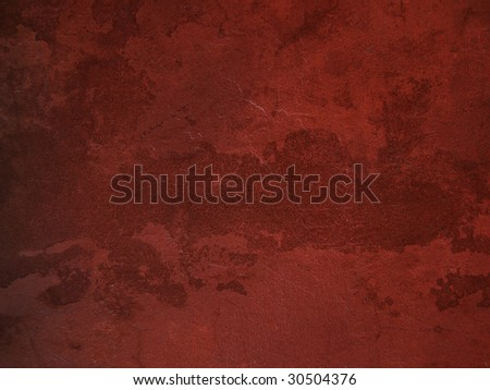 Old red wall background, grunge surface - stock photo