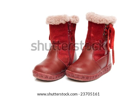 old red winter boots for baby isolated on white