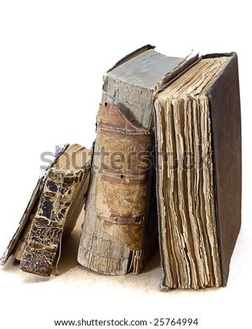 old  religious books on white - stock photo