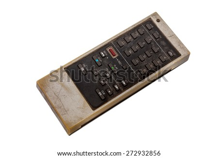 Old remote control for television isolated on white with clipping path - stock photo