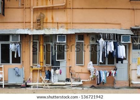 Old residental in Hong Kong - stock photo
