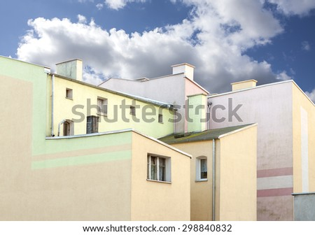 Old residential apartment blocks. - stock photo