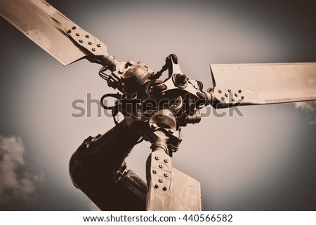 old retro airplane picture. Part of the aircraft. Vintage style image. - stock photo