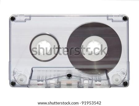 Old retro casette isolated on white background - stock photo