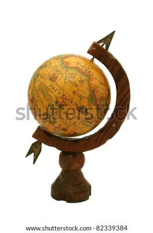 old retro globe isolated on white background - stock photo