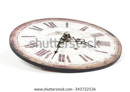 Old retro mechanical wall clock isolated - stock photo