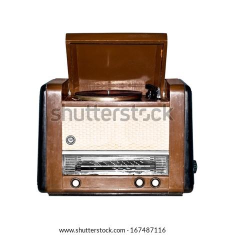 Old retro radio. Isolated on white background. - stock photo