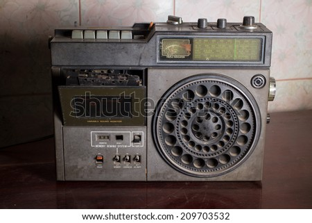 Old retro radio,vintage filtered image. - stock photo