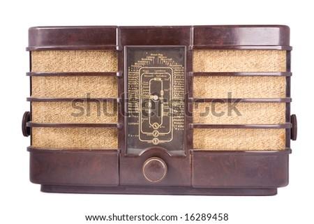 old retro radio white isolated - stock photo