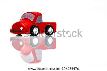 Old retro toy cars isolated on white background. Colorful objects - stock photo
