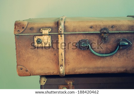 Old Retro Trunk with handle and lock in vintage style - stock photo