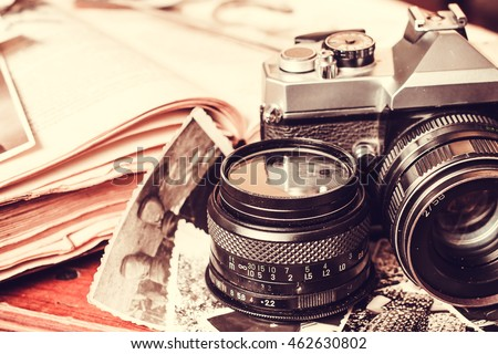 Old retro vintage camera and books photography antique lens equipment black object film photo
