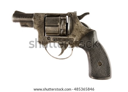 old revolver isolated on a white background