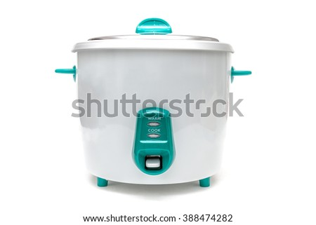 Old Rice Cooker on White Background - stock photo