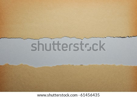 Old ripped paper with gray color background - stock photo
