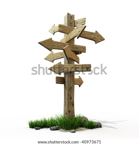 Old road sign with arrows in all directions - stock photo