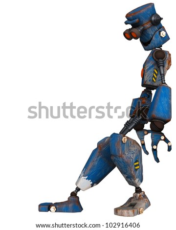 old robot  leaning - stock photo